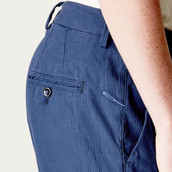 Navy New Town Seersucker Trousers   Bombinate