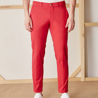 Red New Town Trousers in Cotton | Bombinate