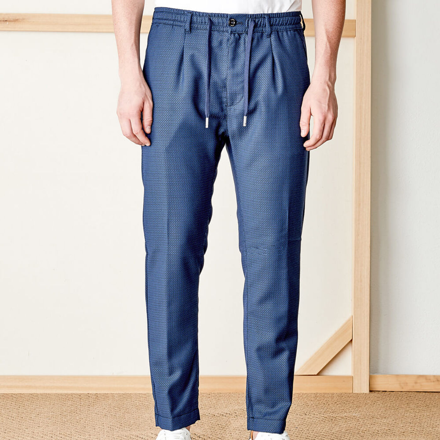 Navy Mitte Trousers in 100% Fresh Wool   Bombinate