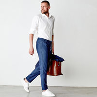Navy Mitte Trousers in 100% Fresh Wool | Bombinate