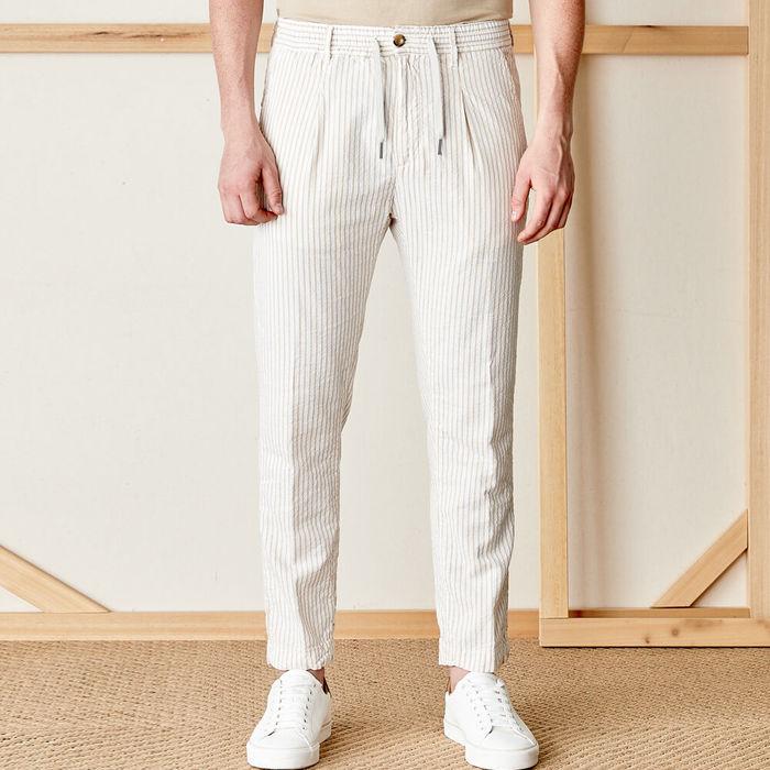 Beige Cotton Mitte Trousers | Bombinate