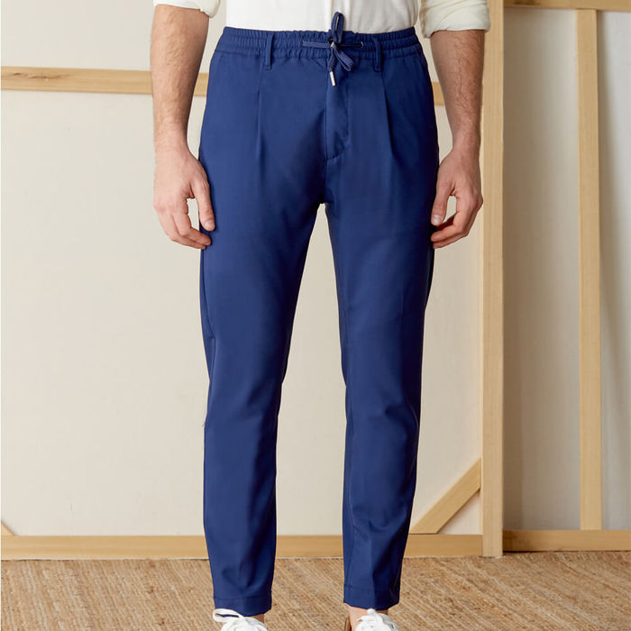 Navy Mitte Trousers in Fresh Wool   Bombinate