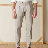 Beige Raval Cotton Trousers | Bombinate