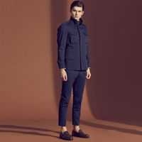 Navy Marais Trousers in Technical Cotton | Bombinate