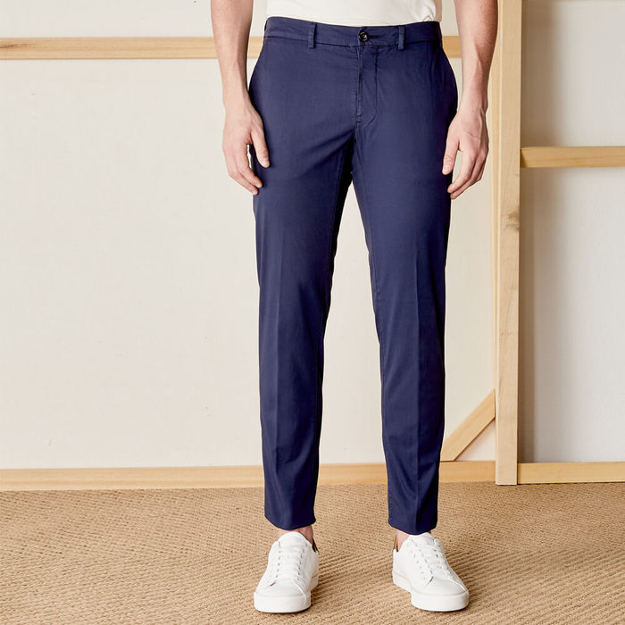 Navy New Town Trousers in Cotton   Bombinate