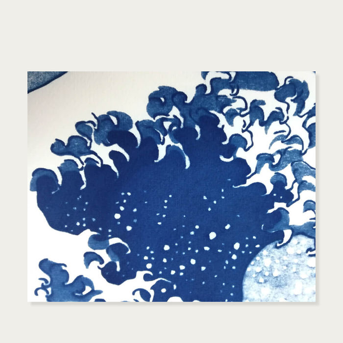 The Great Wave off Kanagawa Handmade Cyanotype Art Print | Bombinate