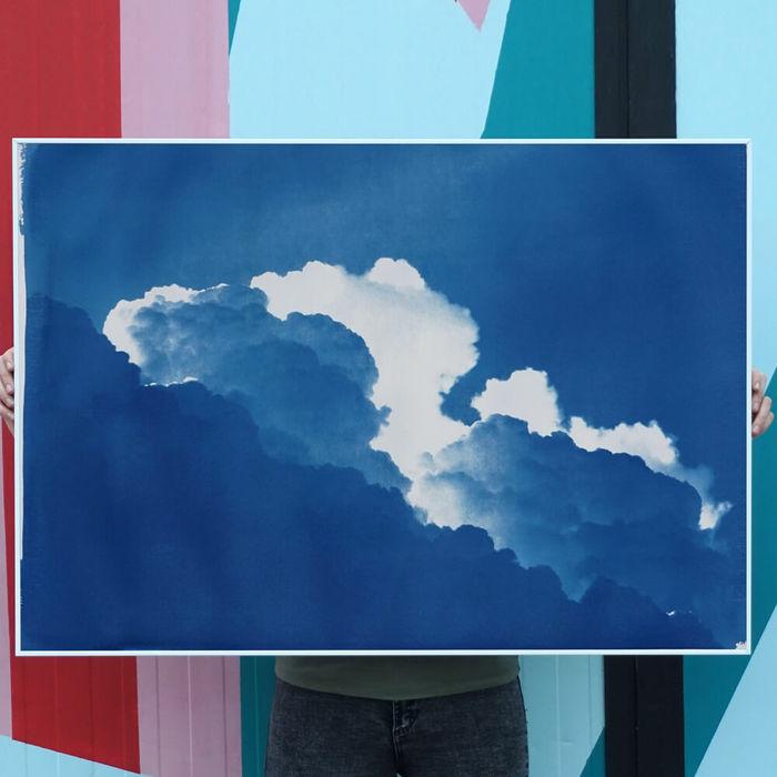 Yves Klein Clouds Limited Edition Handmade Cyanotype Art Print | Bombinate
