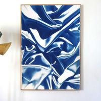 Classic Blue Silk Movement No.4 Limited Edition Handmade Cyanotype Art Print | Bombinate