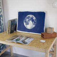 Blue Moon Handmade Cyanotype Art Print | Bombinate