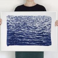 Mediterranean Blue Sea Waves Handmade Cyanotype Art Print   Bombinate
