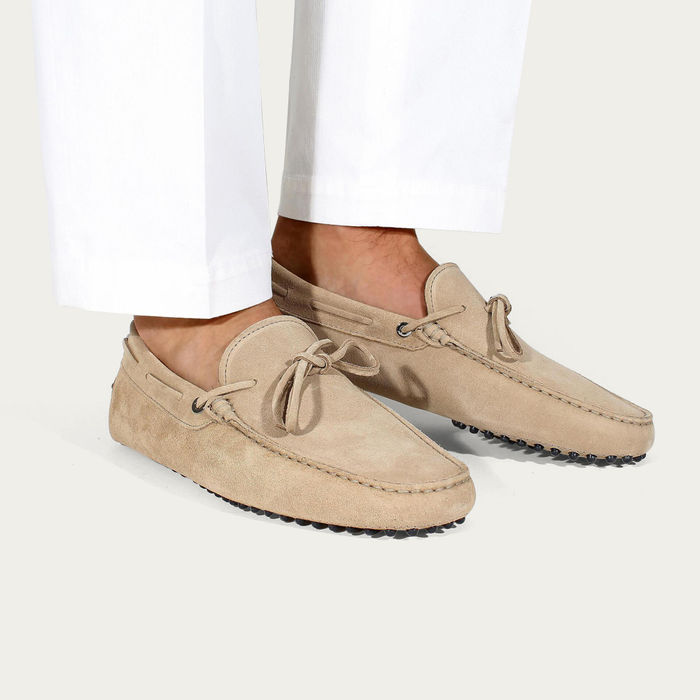 Beige Suede Driving Shoes | Bombinate