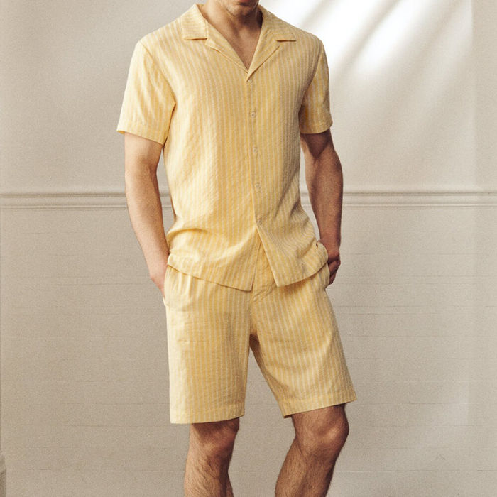 Limoncello Stripe Open Collar Shirt | Bombinate