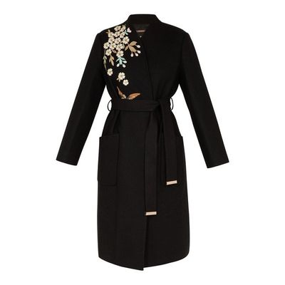 15bd3ad2d28a TED BAKER FENNELA Graceful Embroidered Wool Coat
