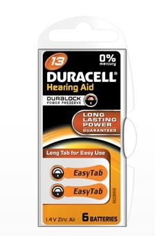 Duracell Zinc Air Hearing Aid Battery Pack of 6