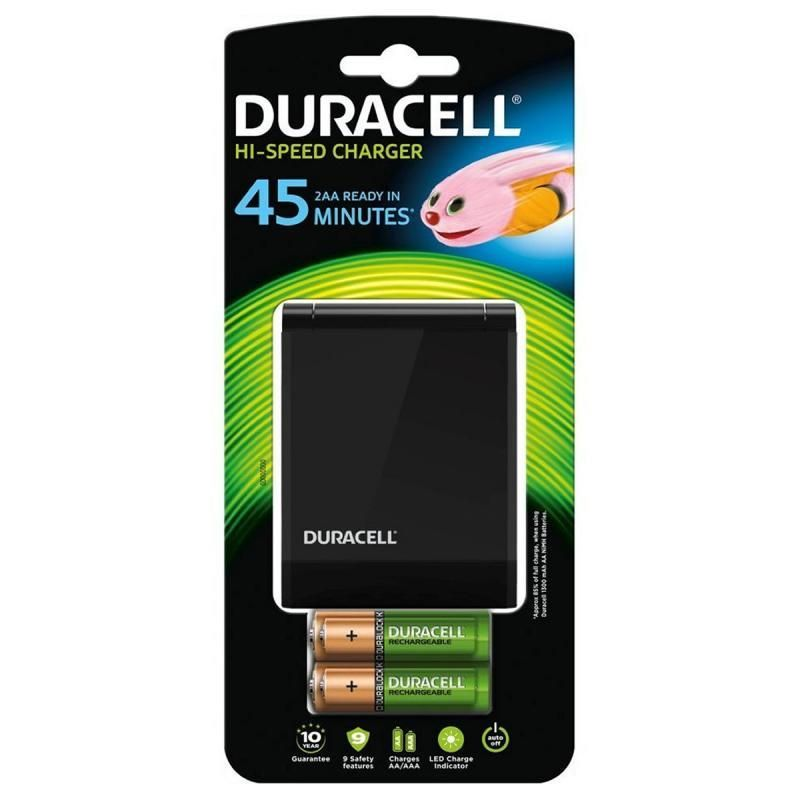 Duracell CEF27EU Hi-Speed Advanced Charger with 2 x AA and AAA Batteries