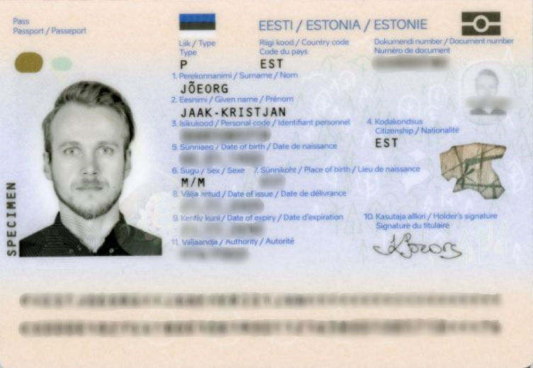 Example of an anonymized passport by blurring
