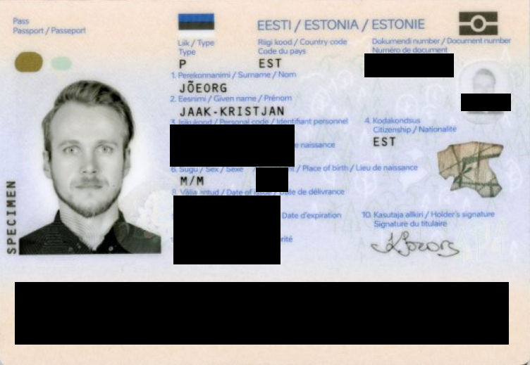 Example of an anonymized passport#2