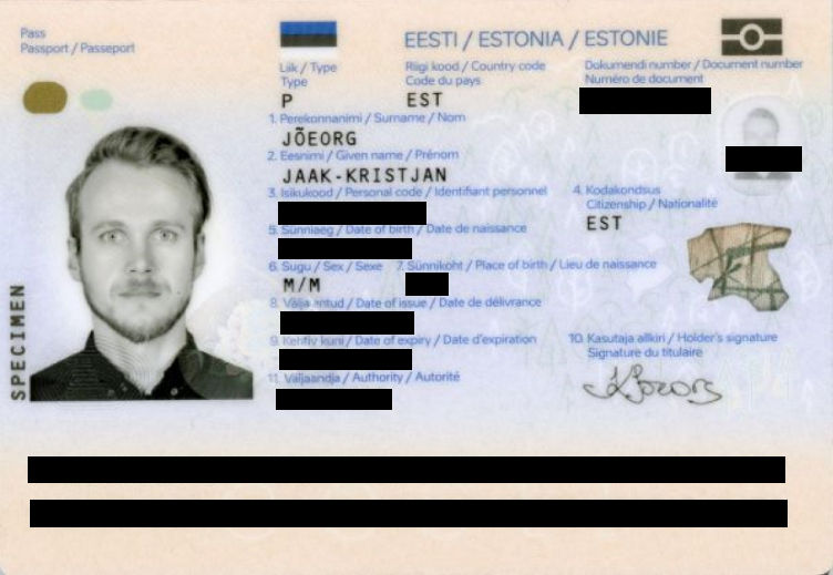Example of an anonymized passport