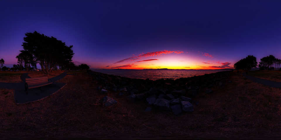 360 panorama sunset