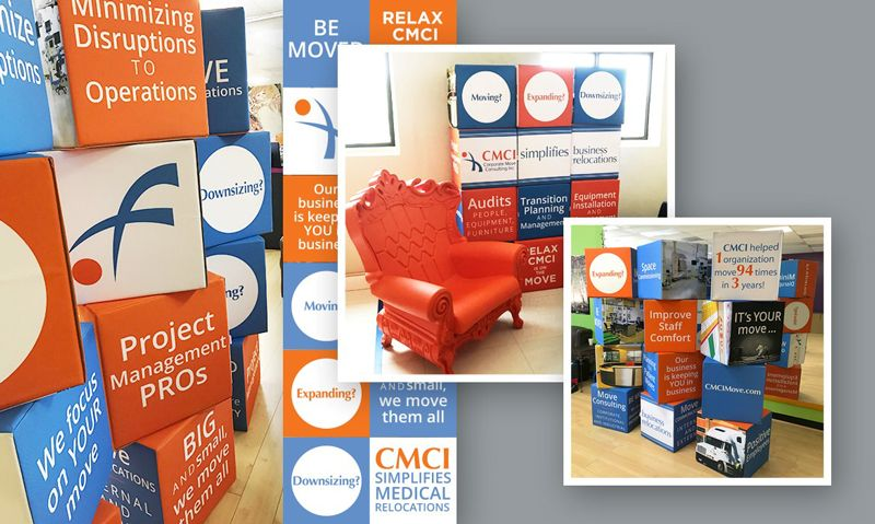 Cubes for an easy-to-change, dynamic booth property with a custom message or image on each side of all 12 cube walls designed by Tell Your Tale Marketing & Design for Corporate Move Consulting, Inc. (CMCI) in Houston, TX
