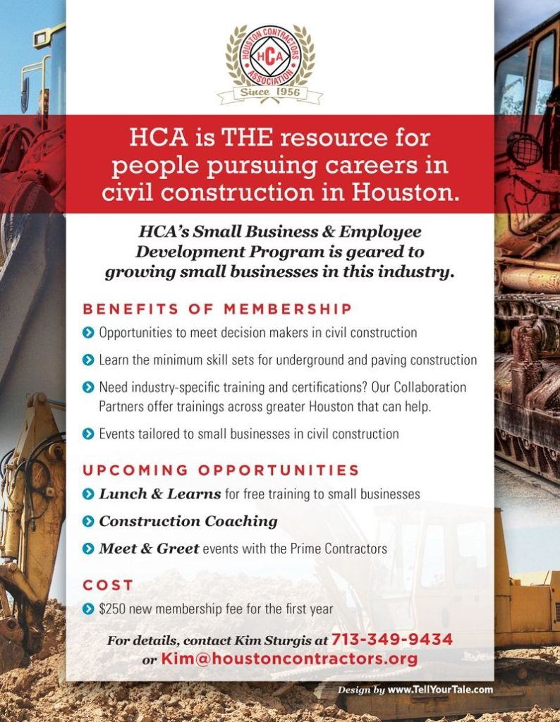 Houston Contractors Assocation membership flier designed by Tell Your Tale's award-winning Graphic Design team.