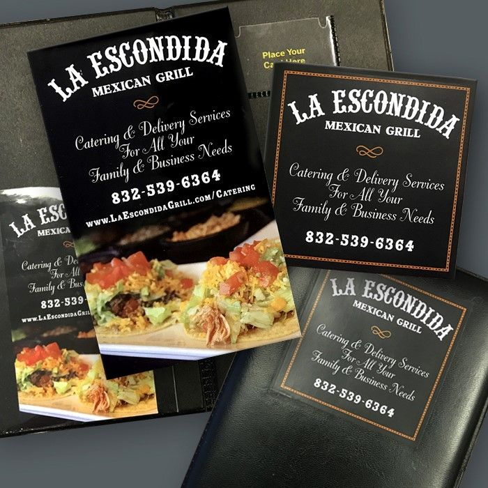 La Escondida Mexican Grill bill inserts designed by the Tell Your Tale Graphic Design team.