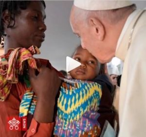 Pope Francis kisses baby in Mozambique, captured on Instagram by Vatican News