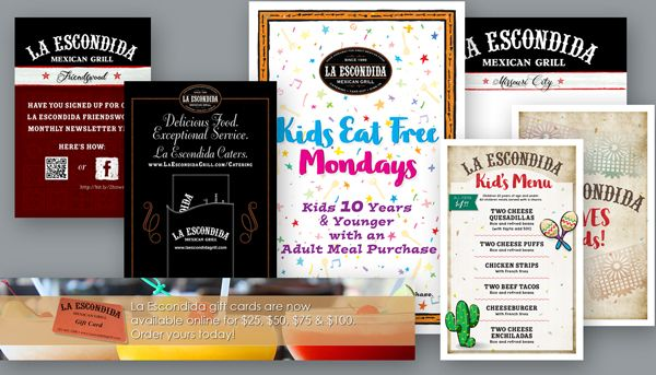 Various graphic design samples including kid's menus and numerous pieces to boost engagement by Tell Your Tale for La Escondida Mexican Grill in Missouri City, TX and Friendswood, TX.