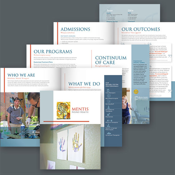 Tell Your Tale Marketing & Design streamlined a 14 page brochure into a more friendly 8 page brochure and reduced printing costs in the process.