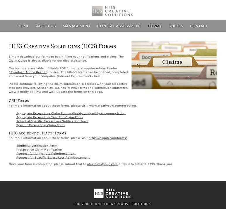 HIIG Creative Solutions - forms page