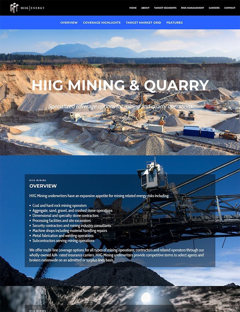 HIIG Energy - mining & quarry page