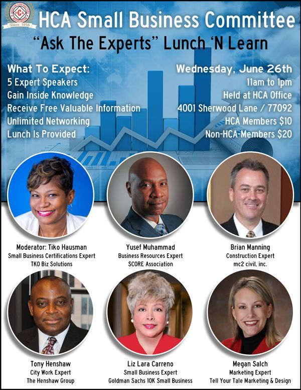 The purpose of this Lunch 'N Learn is to give our members an opportunity to ask a panel of experts about everything from securing funding to free business development resources to what primes look for in a subcontractor.