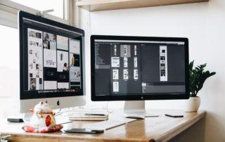 graphic designer's desk at work