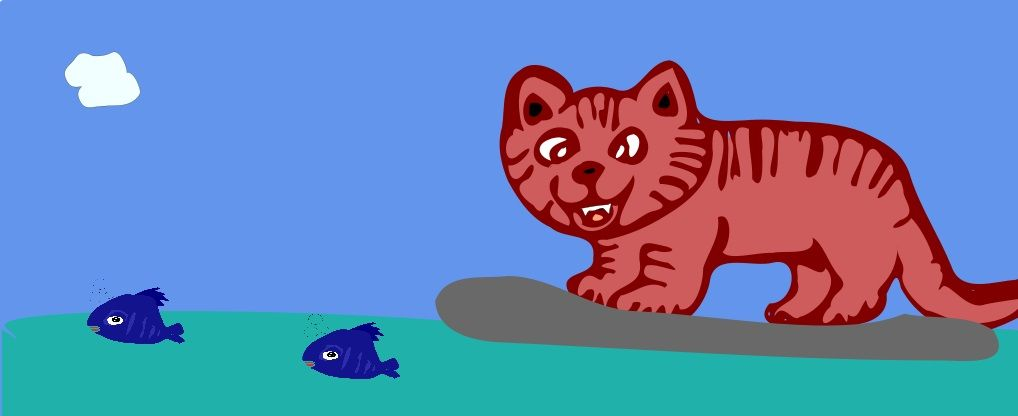 Cartoon Cat Fishing On A Surfboard