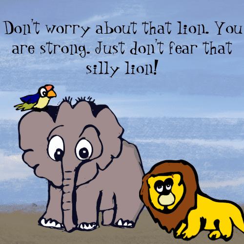 Cartoon Elephant And The Lion