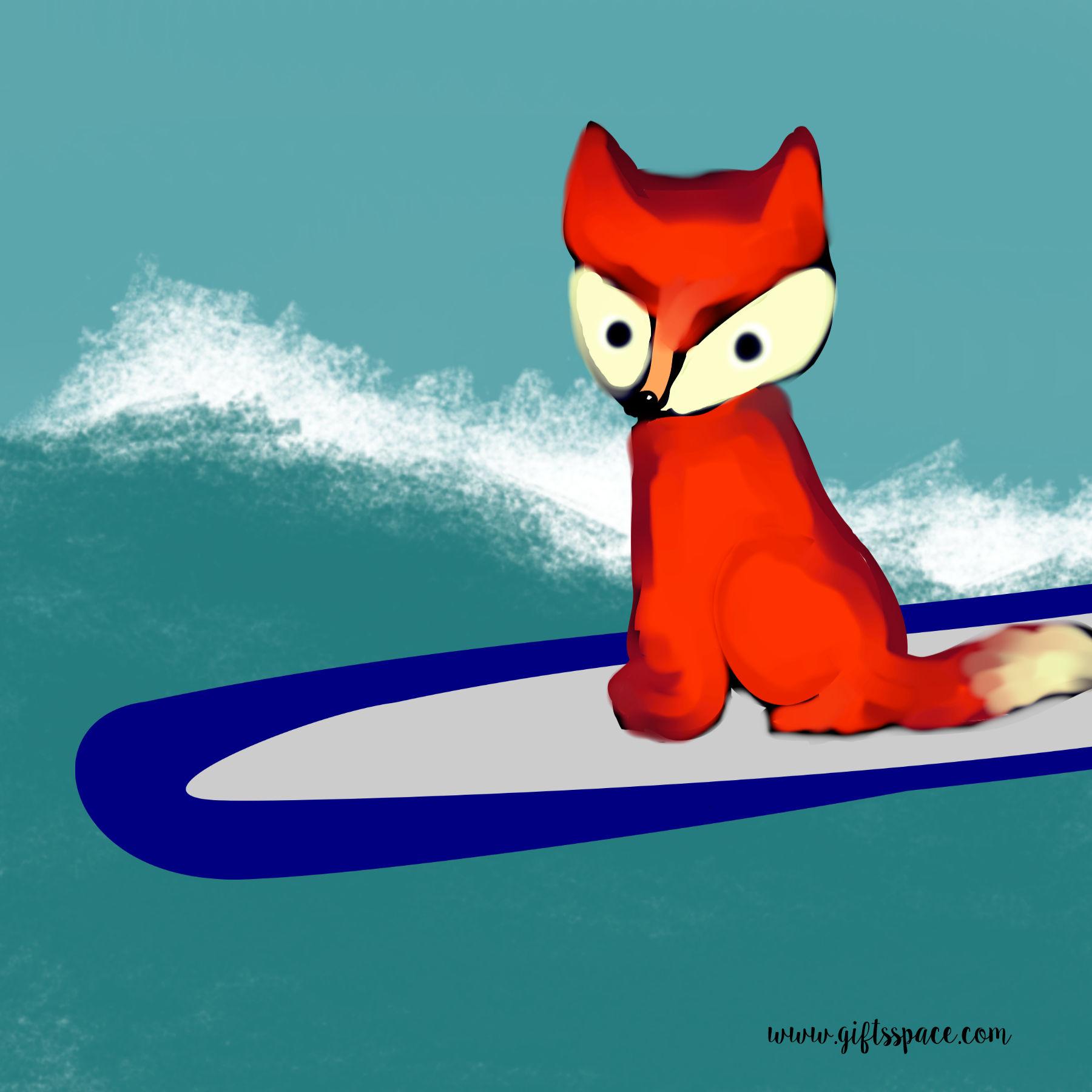 fox on a surfboard
