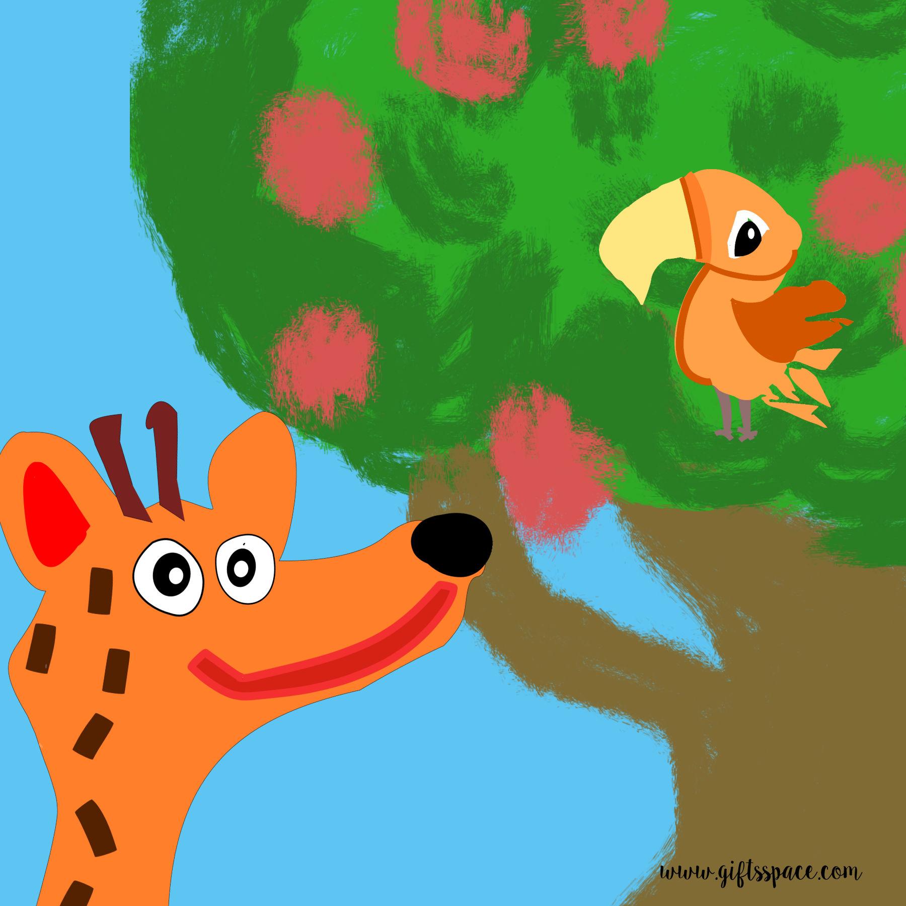 giraffe and the bird on a tree