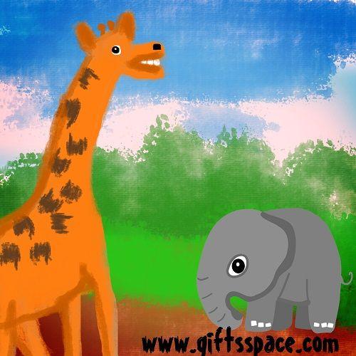 Baby Elephant Meeting The Long Necked Giraffe