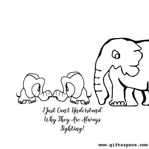 Baby Elephants Fighting Cartoon