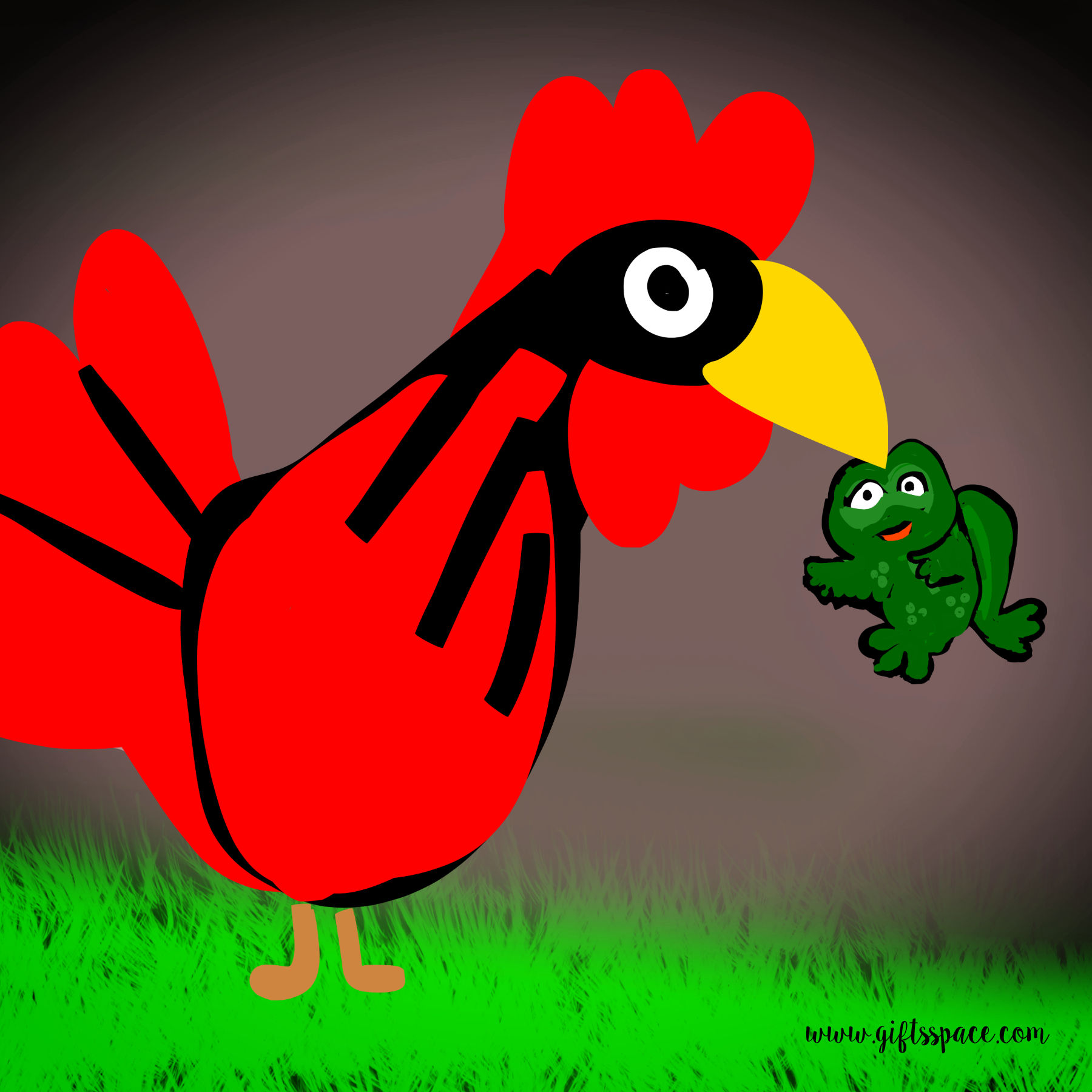 rooster eating frog