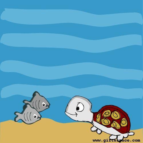 Cartoon, Fish And The Tortoise