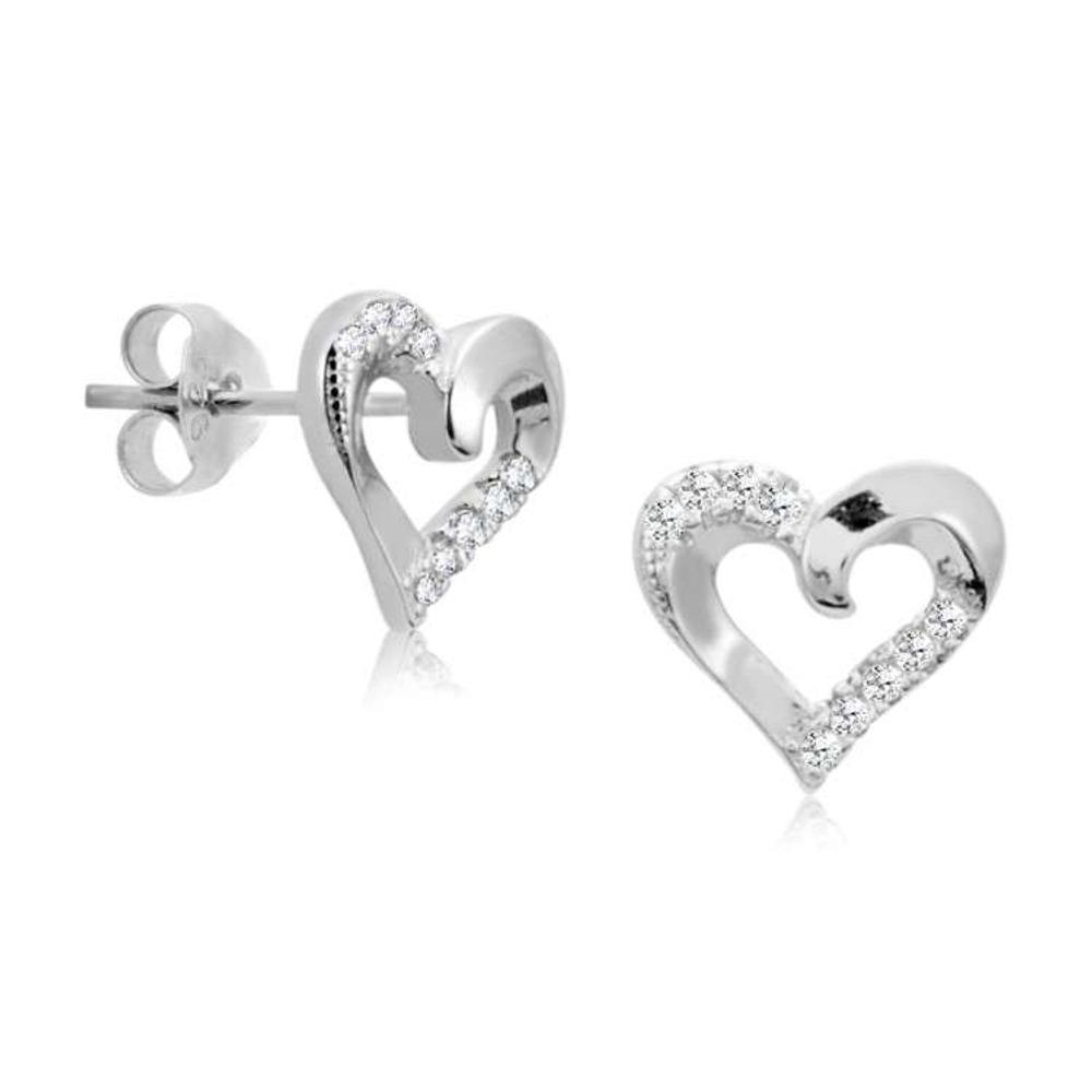 Silver Shine 92 5 Sterling Fancy Heart Earring For Women S