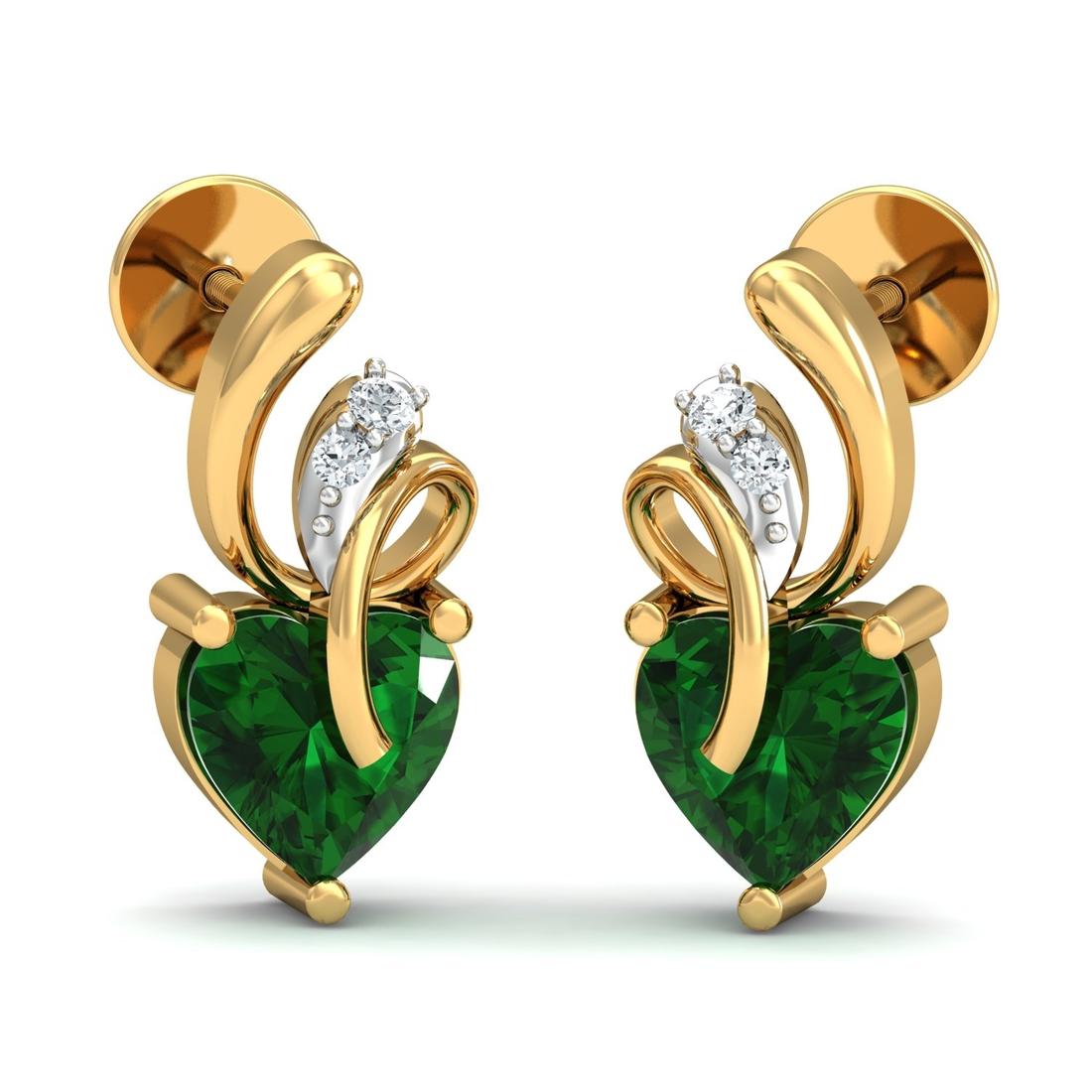Arkina Diamond's Heart Shaped Emerald Diamond Earrings