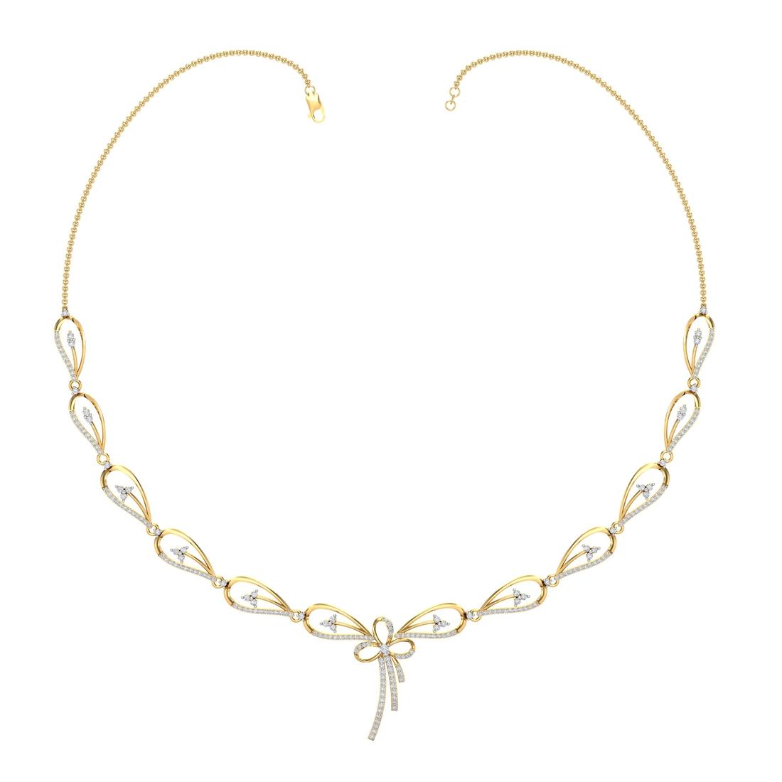 Arkina Diamond's Leaves ribbon necklace