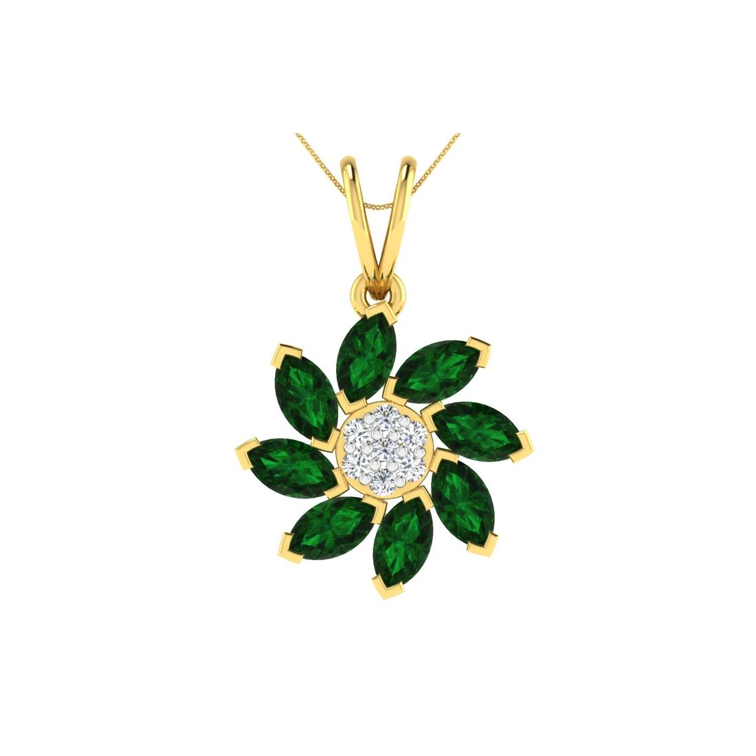 Arkina Diamond's Gemstone flower pendent
