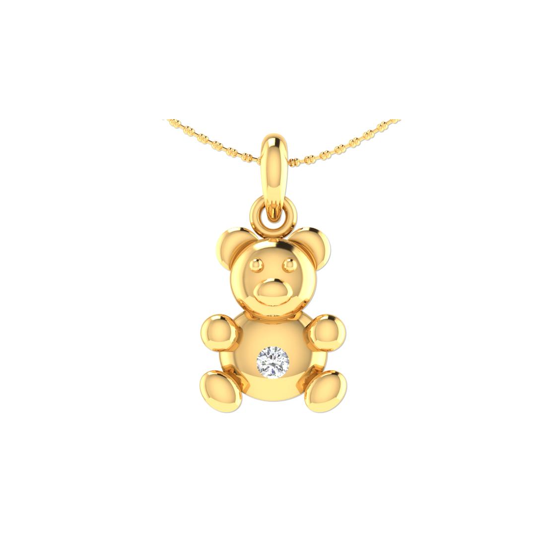 Arkina Diamond's Golden teddy pendent