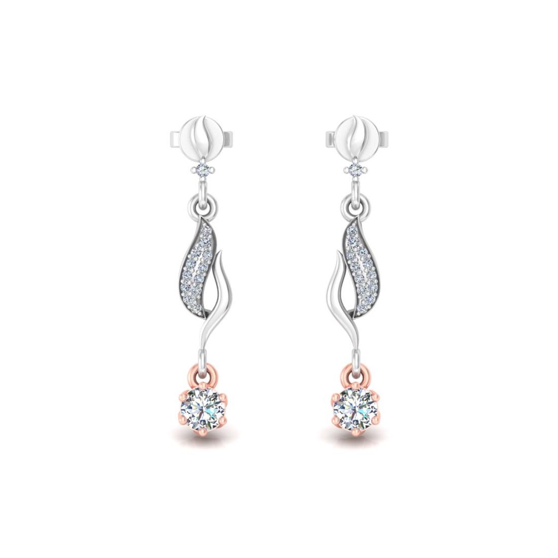 Leaf held diamond earrings