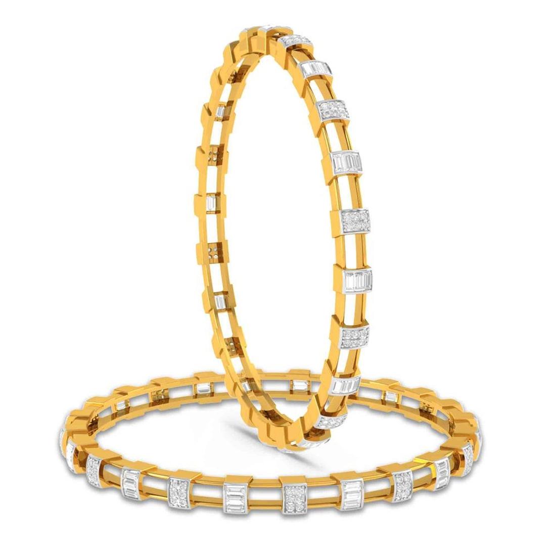 Charu Jewels Diamond Bangle Made with 37.70  Gms 18 KT Yellow Gold Gold And 2.27 Carat Diamonds