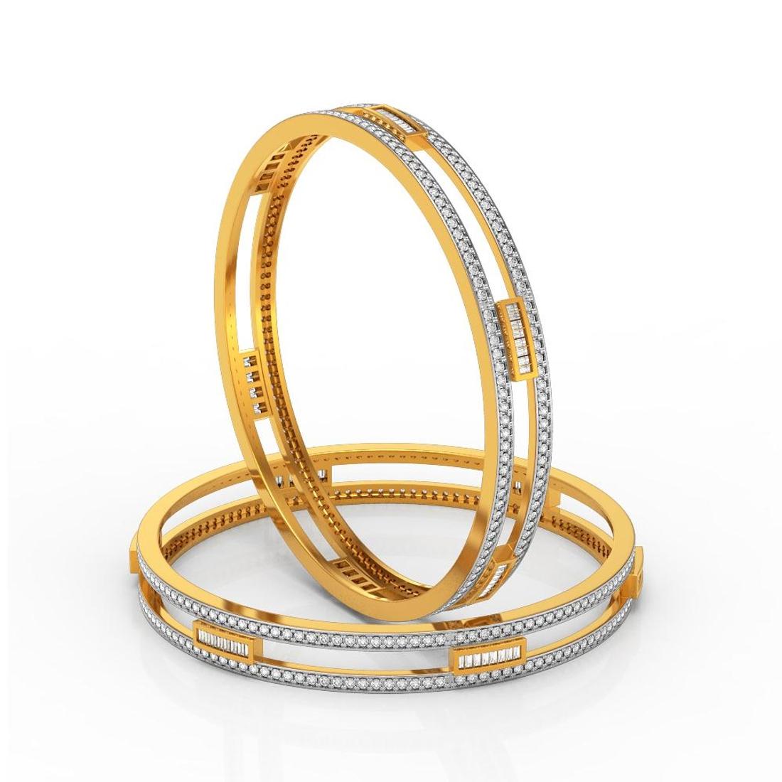 Charu Jewels Diamond Bangle Made with 49.23  Gms 18 KT Yellow Gold Gold And 5.59 Carat Diamonds