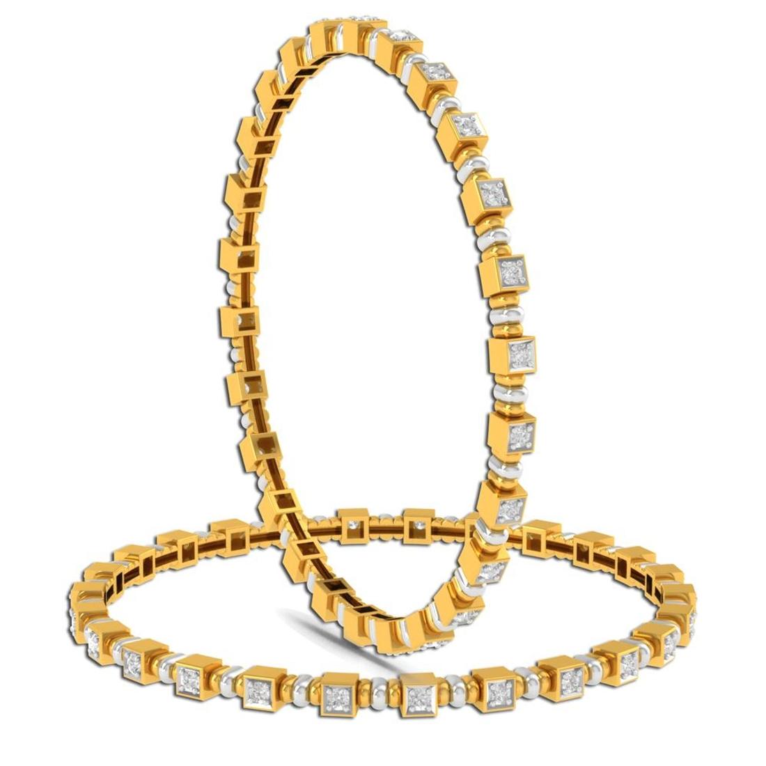 Charu Jewels Diamond Bangle Made with 29.37  Gms 18 KT Yellow Gold Gold And 1.78 Carat Diamonds